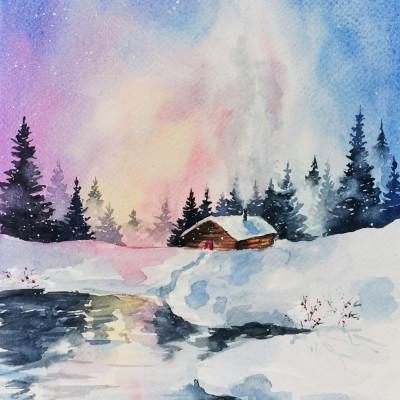 Élményfestés - Téli táj