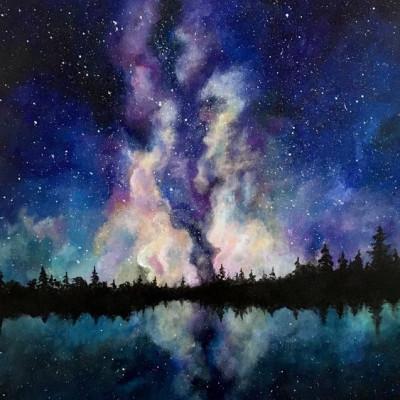 Élményfestés - Csillagos éjszakai égbolt