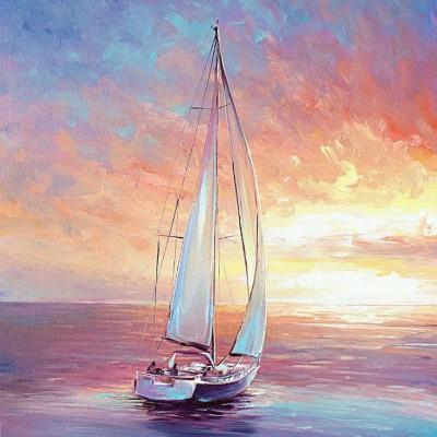 Élményfestés-hajózás a naplementében